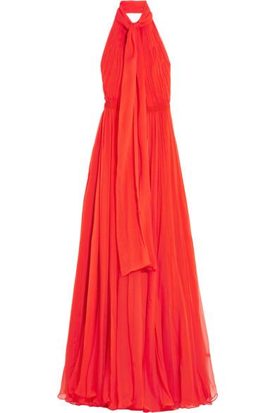 Alexander McQueen - Crinkled Silk-chiffon Halterneck Gown - Red