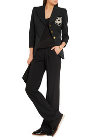 Alexander McQueen Appliquéd wool and silk-blend twill blazer