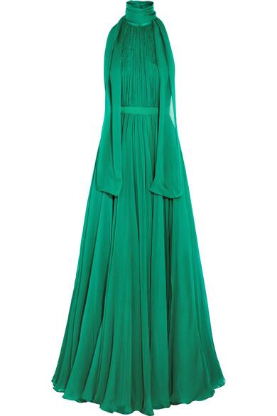 Alexander McQueen - Crinkled Silk-chiffon Halterneck Gown - Jade