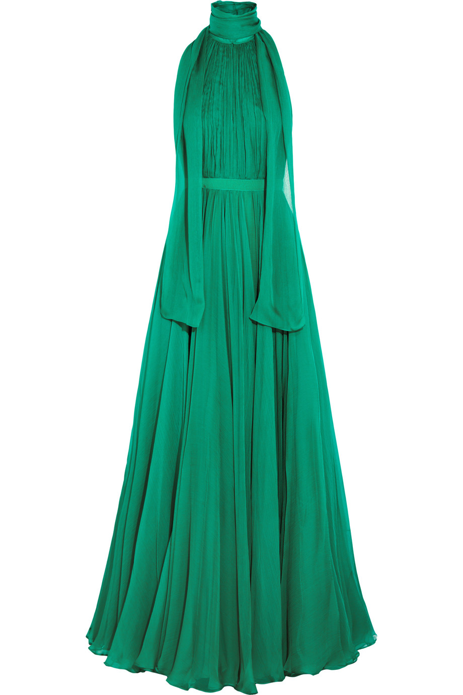 Alexander Mcqueen Crinkled Silk-Chiffon Halterneck Gown, Size: 38