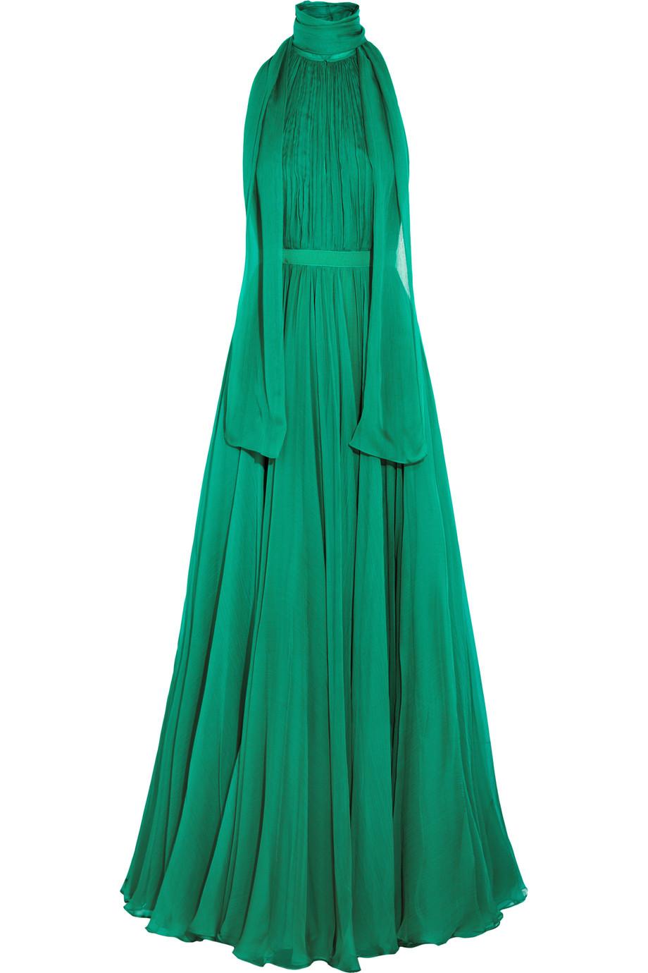 Alexander Mcqueen Crinkled Silk-Chiffon Halterneck Gown, Jade, Women's - Metallic, Size: 46