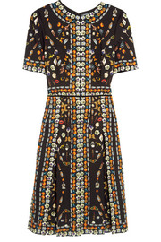 Pleated printed crepe dress