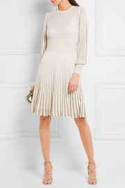 Alexander McQueen Metallic crochet-knit dress