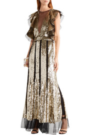 Alexander McQueen Ruffled sequin-embellished tulle gown
