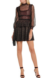 Alexander McQueen Ruffle-trimmed embroidered silk-blend tulle mini dress