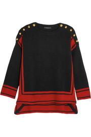Button-embellished two-tone cashmere sweater
