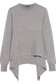 Asymmetric ribbed cashmere sweater