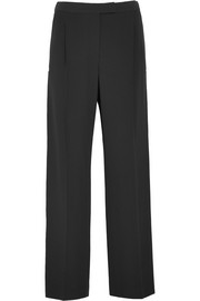 Grosgrain-trimmed crepe wide-leg pants