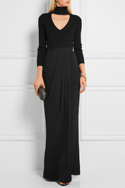 Alexander McQueen Draped wrap-effect crepe de chine maxi skirt