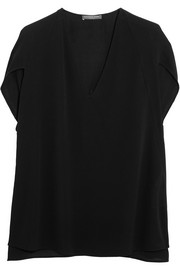 Alexander McQueen Cape-effect silk-crepe top
