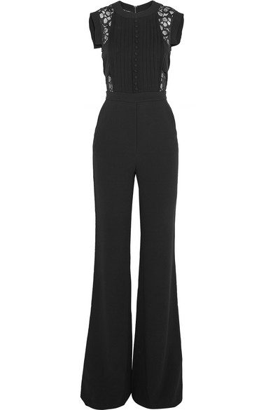 2d14b67fb3dd Elie Saab. Lace-paneled stretch-crepe jumpsuit
