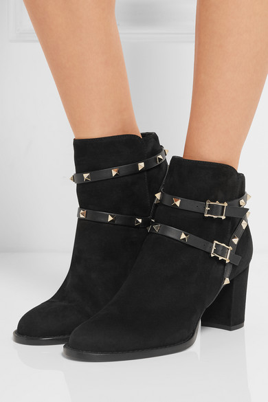 Valentino | Rockstud leather-trimmed suede ankle boots | NET-A ...