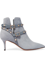Valentino The Rockstud leather-trimmed suede ankle boots