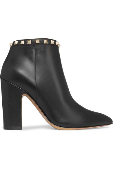 Valentino - Rockstud Leather Ankle Boots - Black