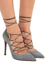Rockstud lace-up suede and leather pumps