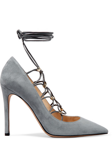 Valentino - Rockstud Lace-up Suede And Leather Pumps - Stone