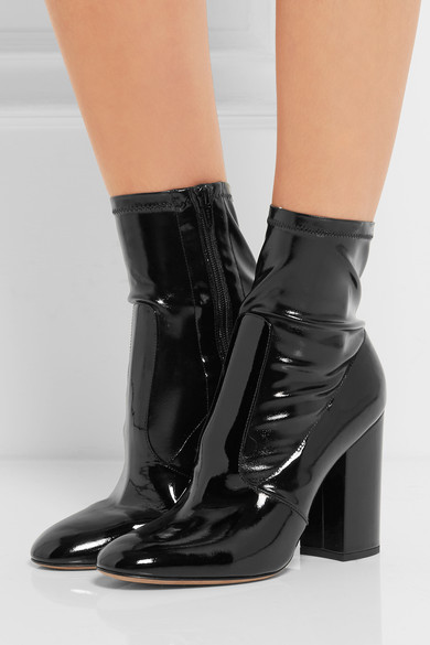 Valentino Faux Patent Leather Ankle Boots Net A Porter Com