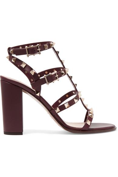 Valentino - The Rockstud Embellished Leather Sandals - Burgundy