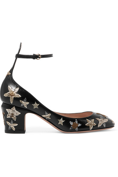 Valentino - Tango Embellished Leather Pumps - Black