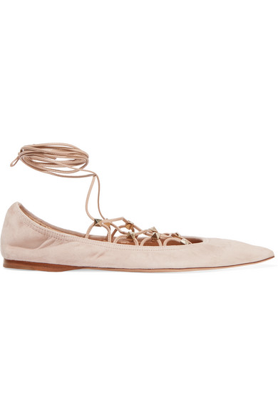 Valentino - Lace-up Suede Point-toe Flats - Blush