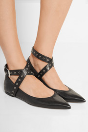 Valentino Love Latch eyelet-embellished leather point-toe flats