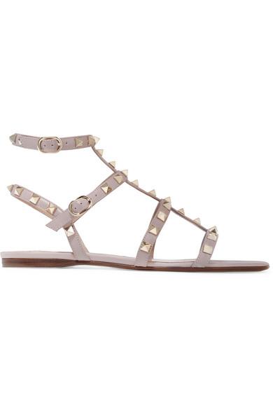 Valentino - Rockstud Embellished Leather Sandals - Blush