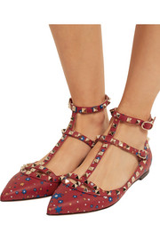 Valentino The Rockstud printed leather point-toe flats