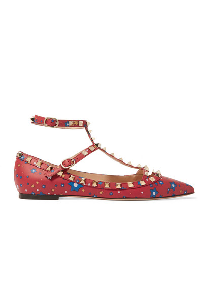 Valentino - The Rockstud Printed Leather Point-toe Flats - Red