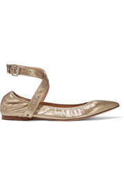 Love Latch metallic leather point-toe flats