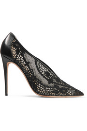 Leather-trimmed guipure lace pumps