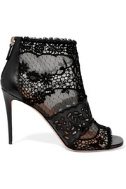 Valentino Laser-cut leather, lace and tulle ankle boots