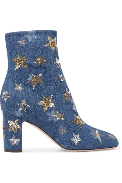 Valentino - Embellished Denim Ankle Boots - Mid denim