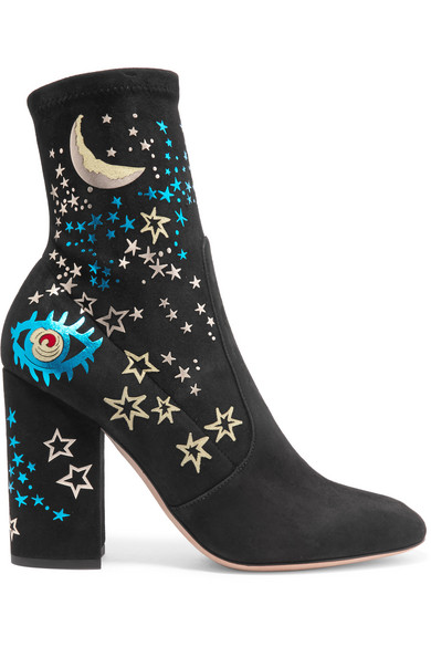 Valentino - Printed Suede Ankle Boots - Black