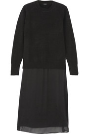 Glen layered wool and cashmere-blend and silk crepe de chine dress