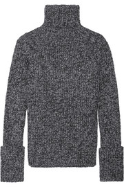 Mélange wool-blend turtleneck sweater