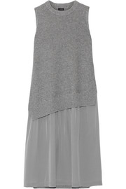 Joseph Wool and cashmere-blend and silk crepe de chine dress