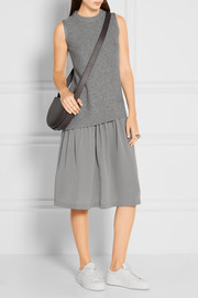 Wool and cashmere-blend and silk crepe de chine dress