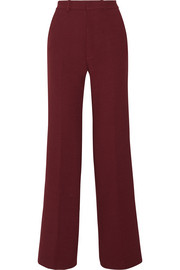 Fergus satin-trimmed stretch-twill wide-leg pants