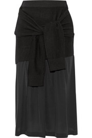 Tie-front wool-blend and silk skirt