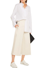 Fitz cropped satin-paneled cotton-twill wide-leg pants