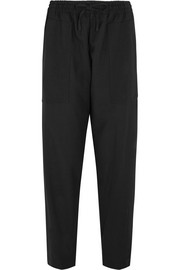 Astrid satin-trimmed stretch-wool wide-leg pants