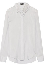 Evert ruffled pinstriped silk-satin shirt