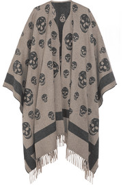 Skull-printed cashmere and wool-blend cape