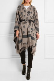 Alexander McQueen Skull-printed cashmere and wool-blend cape