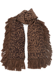 Tasseled wool and silk-blend jacquard scarf