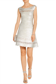 Hervé Léger Dominica cutout metallic bandange mini dress