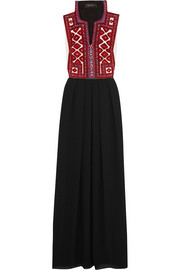 Crochet-trimmed embroidered crepe de chine maxi dress
