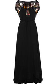 Tasseled silk-chiffon maxi dress