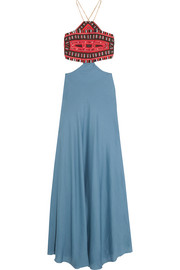 Embroidered cotton and silk-blend maxi dress