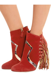 Brian Atwood Harlow fringed elaphe-trimmed suede ankle boots